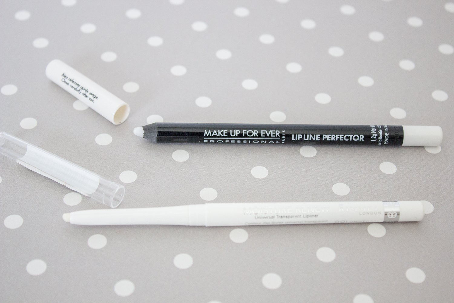 Makeup dupes: Make Up For Ever Lip Line Perfector vs. Rimmel Moisture Renew Transparent Lip Liner