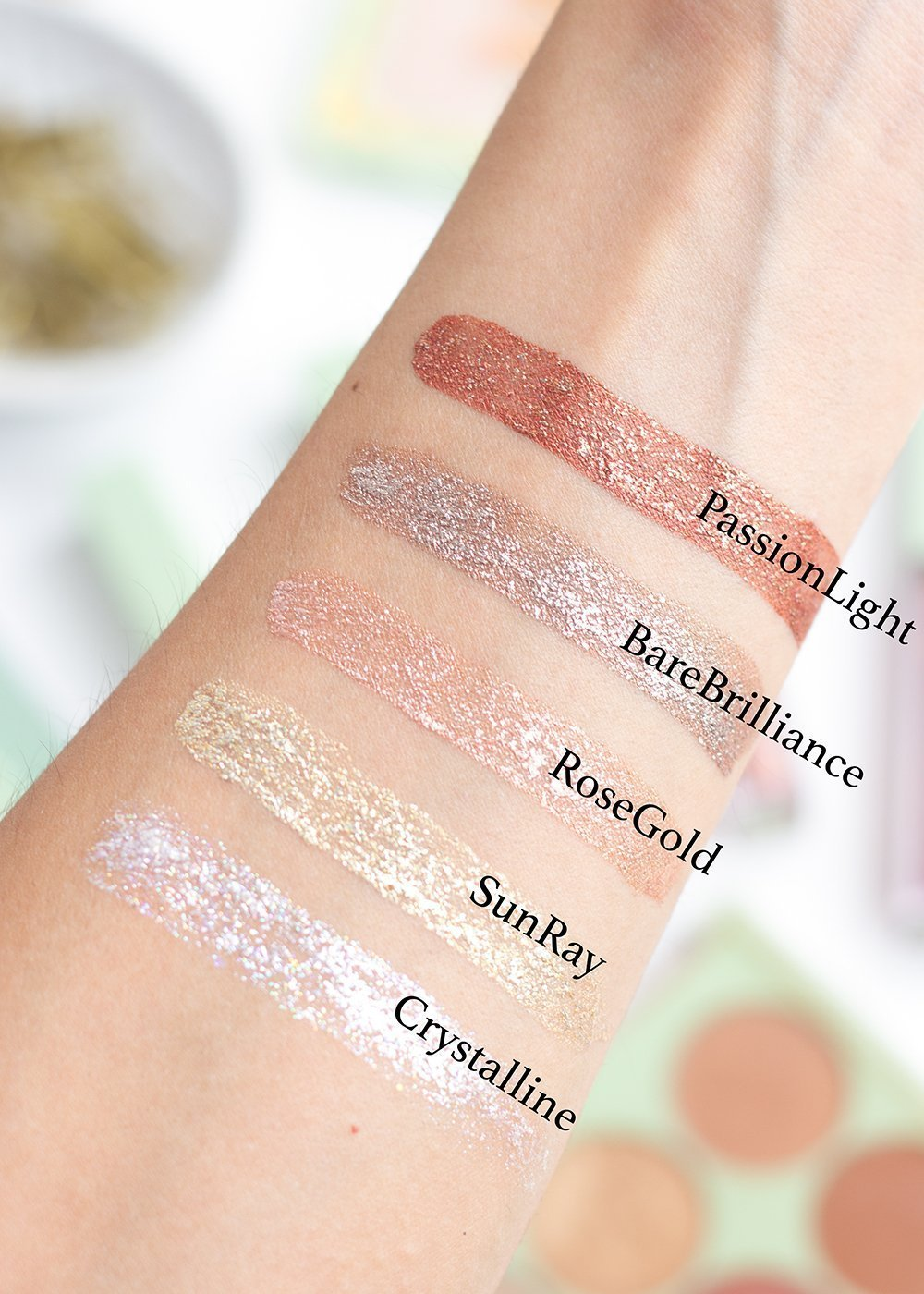 Swatches of the Pixi Liquid Fairy Lights